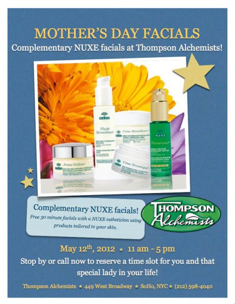 Nuxe Facial's Mothers Day 2012