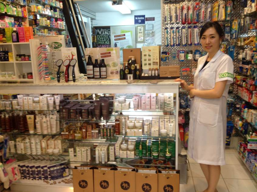 A representative from Hesol displaying the products