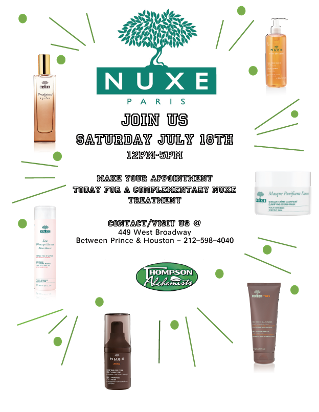 We are having another NUXE EVENT: Saturday July 18th!